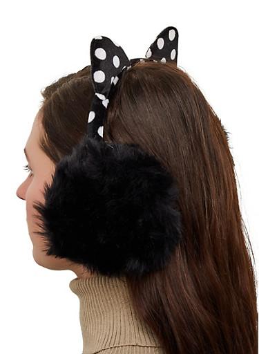 Polka Dot Cat Ear Muffs,BLACK,large