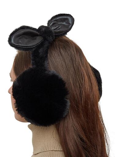 Bow Faux Fur Earmuffs,BLACK,large
