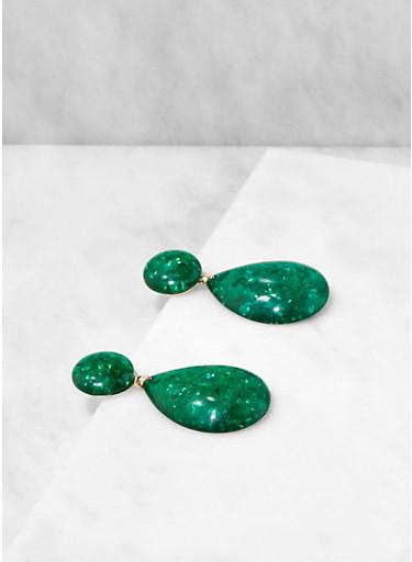 Resin Teardrop Earrings,GREEN,large