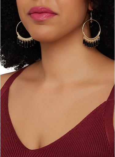 Beaded Trim Drop Hoop Earrings,BLACK,large