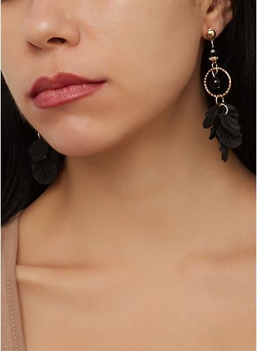 Metallic Petal Drop Earrings,BLACK,large
