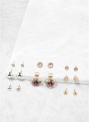 Set of 8 Heart Reversible Stud Earrings,MULTI COLOR,large