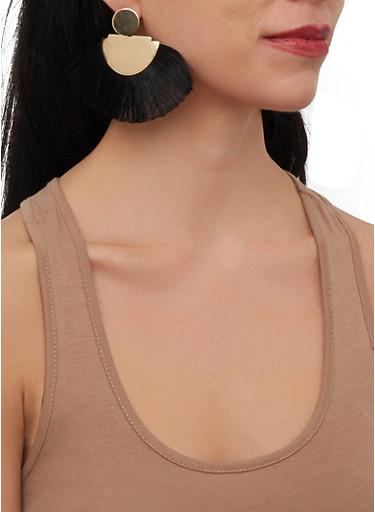 Metallic Fringe Fan Earrings,BLACK,large