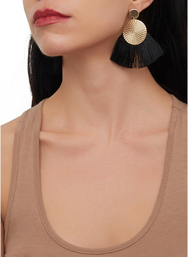 Metallic Circle Fringe Fan Earrings,BLACK,large