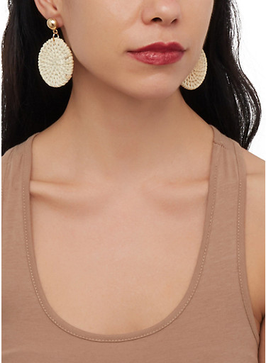 Straw Disc Earrings,IVORY,large
