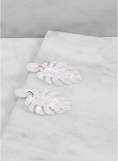 Marbled Resin Leaf Drop Earrings,WHITE,large