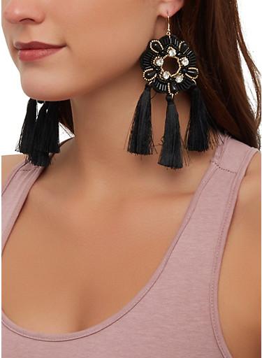 Beaded Flower Tassel Earrings,BLACK,large