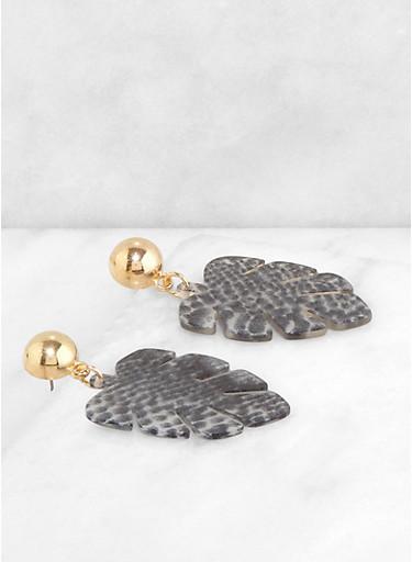 Printed Leaf Resin Earrings,BLK PTN,large
