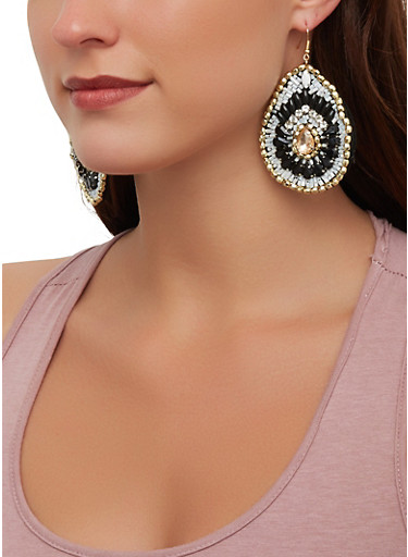 Multi Beaded Tear Drop Earrings,BLACK/WHITE,large