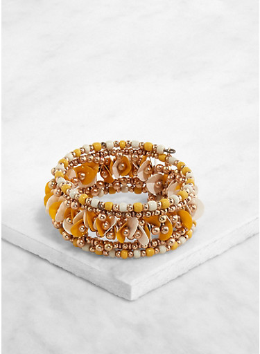 Multi Beaded Coil Bracelet,MUSTARD,large