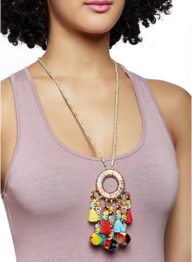 Pom Pom Threaded Circle Necklace,MUSTARD,large