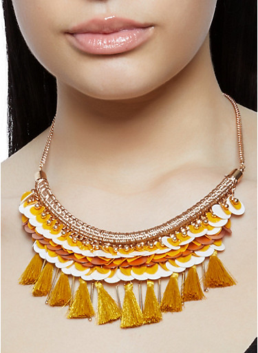 Threaded Tassel Collar Necklace and Earrings,MUSTARD,large