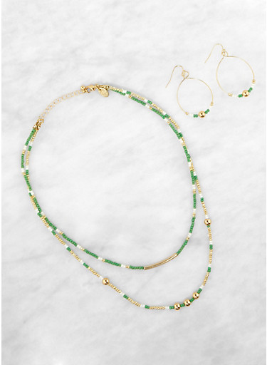 Beaded Layered Necklace and Drop Earrings,GREEN,large