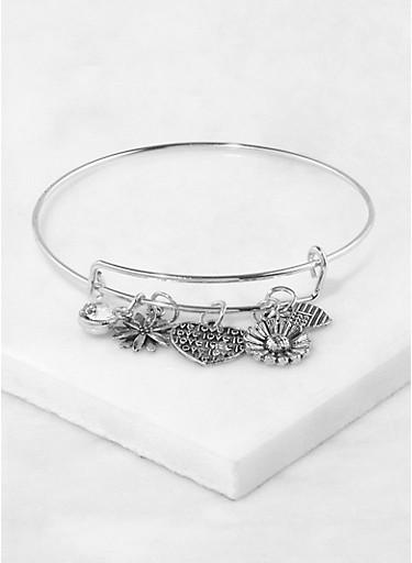 Metallic Charm Bracelet,SILVER,large
