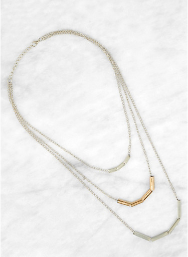 Layered Two Tone Necklace,SILVER,large