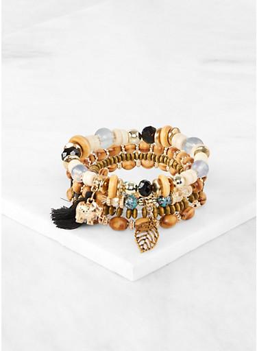 Charm Beaded Stretch Bracelets,BLACK,large