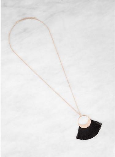 Metallic Circle Fringe Necklace,BLACK,large