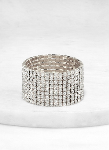 Multi Row Rhinestone Stretch Bracelet,SILVER,large