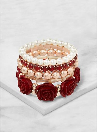 Assorted Flower Stretch Bracelets,WINE,large