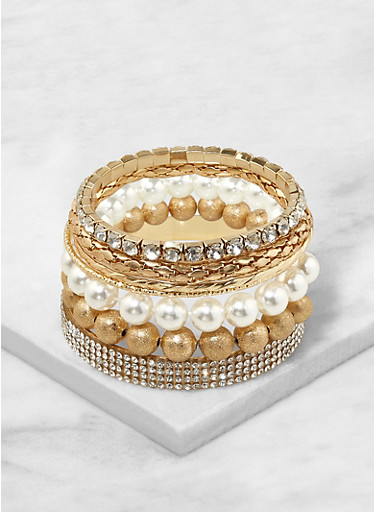 Set of Assorted Metallic Bracelets,GOLD,large