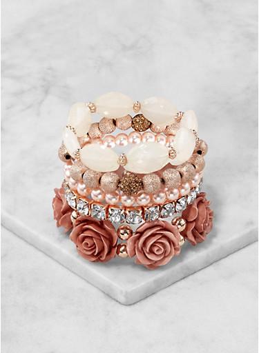 Beaded Stretch Bracelets,ROSE,large