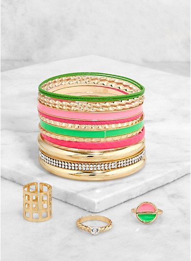 Neon and Metallic Bangles with Ring Trio,GOLD,large