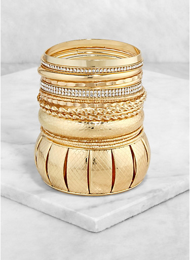Textured Metallic Bangles | 1193057695333,GOLD,large