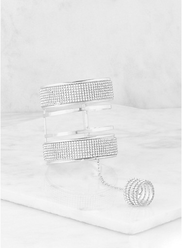 Rhinestone Cuff with Attached Ring,SILVER,large