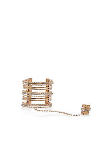 Textured Rhinestone Cuff Ring Hand Chain Bracelet,ROSE,large