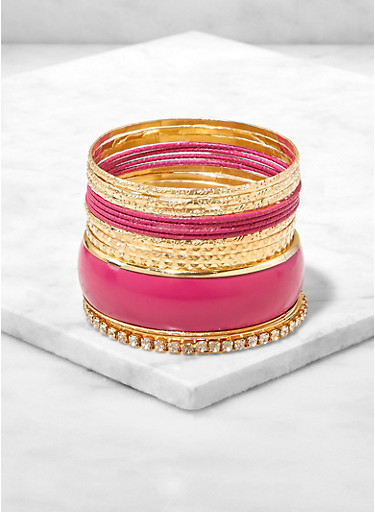 Set of 13 Assorted Metallic Rhinestone Bangles,FUCHSIA,large