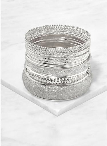 Plus Size Set of Glitter Metallic Bangles,SILVER,large