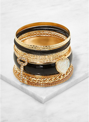 Set of Assorted Metallic and Matte Bangles,GOLD,large