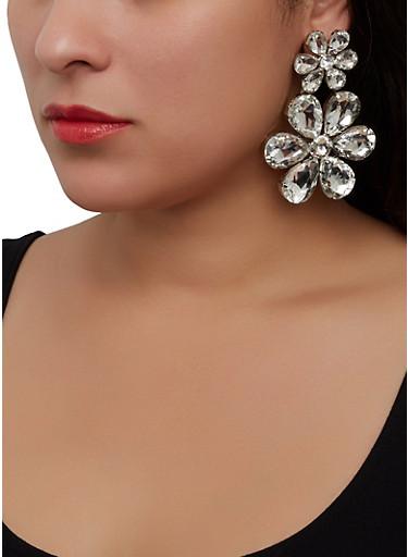 Rhinestone Flower Drop Earrings,CLEAR,large