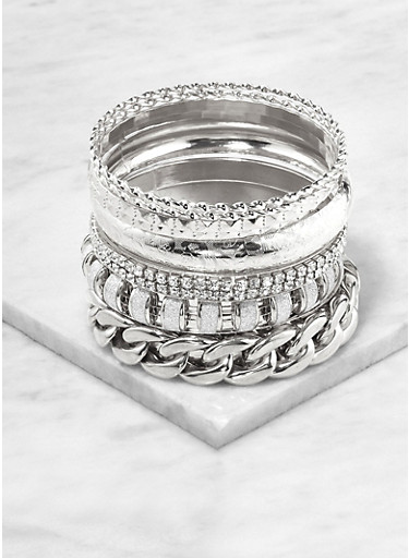 Plus Size Curb Chain Glitter Bangles,SILVER,large