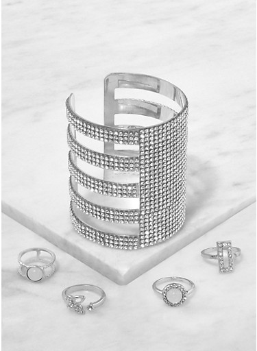 Rhinestone Cut Out Cuff Bracelet with Assorted Rings,SILVER,large