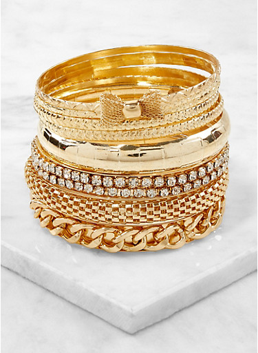 Assorted Textured Metallic Bangles,GOLD,large