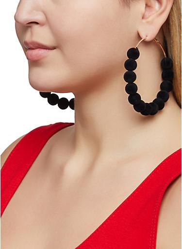 Velvet Beaded Hoop Earrings,BLACK,large