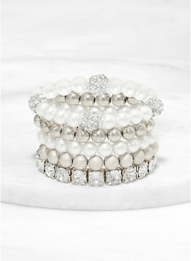 Faux Pearl and Rhinestone Stretch Bracelets,SILVER,large