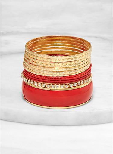 Set of Textured Metallic and Rhinestone Bangles,RED,large