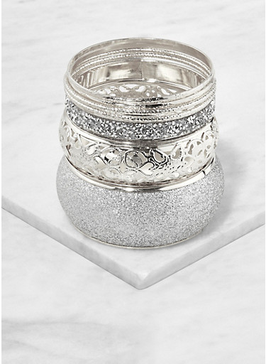 Set of Glitter Metallic Bangles,SILVER,large