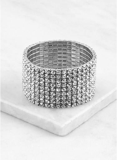 Rhinestone Stretch Cuff Bracelet,SILVER,large