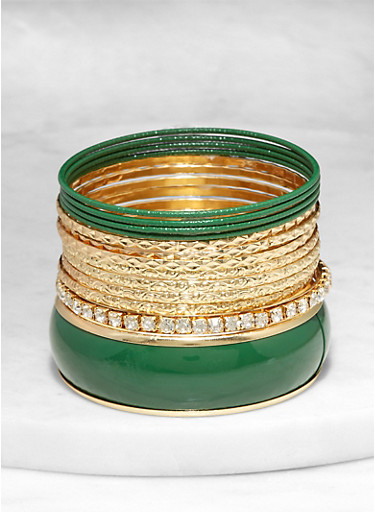 Assorted Colored Metallic Bangles,GREEN,large