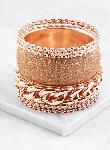 Plus Size Assorted Glitter Metallic Bangles Set,ROSE,large