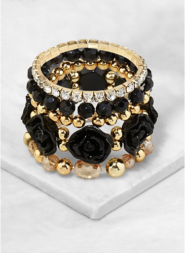 Set of 5 Assorted Stretch Bracelets,BLACK,large
