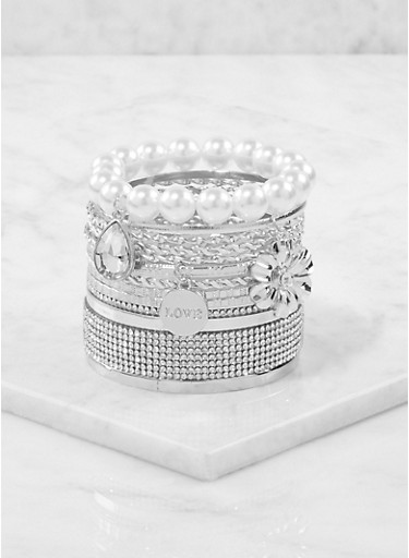 Plus Size Set of Assorted Bracelets,SILVER,large