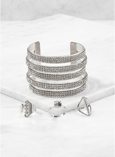Rhinestone Cuff Bracelet with Ring Trio,SILVER,large