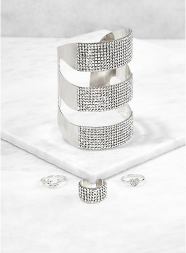 Rhinestone Cuff Bracelet and Ring Trio,SILVER,large