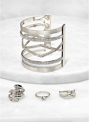 Open Cuff with Ring Trio,SILVER,large
