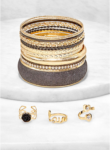 Plus Size Glitter Bangles with Ring Trio,BLACK,large