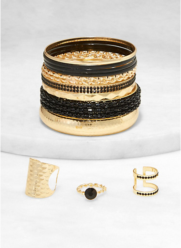 Assorted Metallic Bangles with Ring Trio,BLACK,large